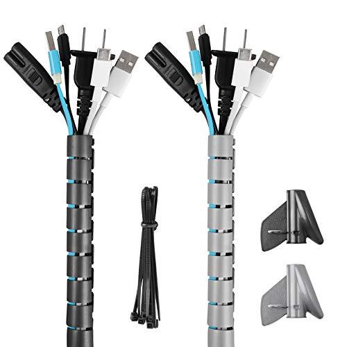 HALOVIE Organizador Cables, Cubre Cables de 2 x 2m Flexible Funda Protector...
