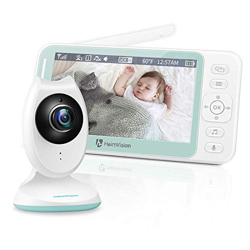 Vigilabebés Inalambrico con Pantalla LCD HD de 4.3 Pulgadas, Vigila Bebés con Visión Nocturna, Sensor de Temperatura y VOX, Cámara para Bebes con Audio Bidireccional, 8 Canciones de Cuna