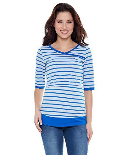 be Mama! Umstandsshirt mit Stillfunktion, Modell: Monic - Kurzarm, Streifen hellblau, SM