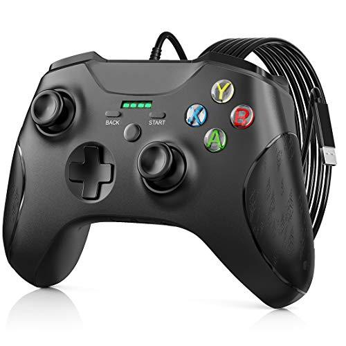 Controller per Xbox One, JORREP, controller cablato per Xbox Series X/S, Xbox One, PC Windows 7/8/10, Wired Gamepad con jack audio da 3,5 mm, doppia vibrazione, colore nero