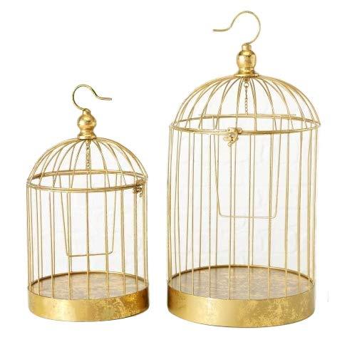 Home Collection Arredamento Accessori Set di 2 Gabbie Decorative per Uccelli Colore Oro
