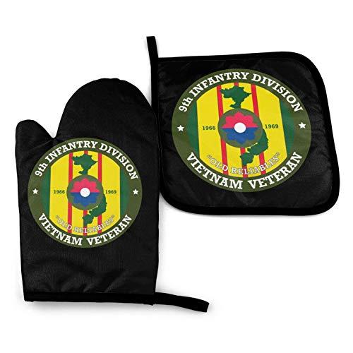WUSA15UF 9th Infantería Division Vietnam Veteran Logo Cocina Resistente al Calor Impermeable Manoplas de Horno y Soportes de Olla Conjuntos Seguro