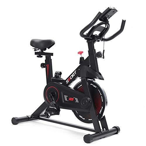 YLJYJ Bicicleta de Ciclismo para Interiores estacionaria - Bicicleta estática con cómodo cojín de Asiento, Soporte para teléfono/iPad, Volante Pesado y Monitor LCD para Gimnasio en casa