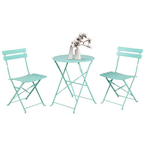 Grand patio Bistro Set 3 Pieces, Garden Furniture Set, 2 Chairs and 1 Table, Premium Steel, Easy to Fold, Patio set for Balcony,Yard, Garden (Mint Green)