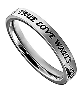 K2 True Love Waits Stainless Steel Engagement Purity Band Ring Abstinence  9