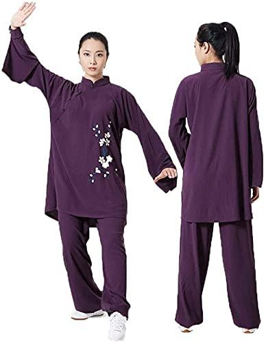 Tai Chi Mujer, Tai Chi Uniforme Cómodo Algodón Transpirable Tai Chi Vetements Kung Fu Yoga Ropa Wushu Ropa Estilo Chino, Púrpura-XSmall