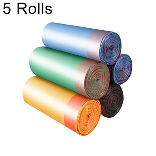 Moares 75 bolsas de basura, bolsas de basura de plástico desechables, gruesas con cordón, para cocina, baño, oficina 5 Rolls Color aleatorio.