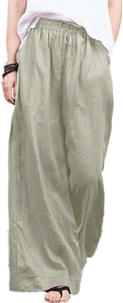 NP Wide Leg Pants Casual Cotton and Linen Loose Women's Trousers