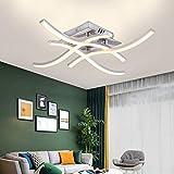 Plafonnier LED Design Moderne, Luminaire Plafonnier en Forme de Vague, 4000k Blanc Chaud, LED intégrées 24W 2000Lm, Lustre Moderne Pour le Salon Chambre Salle à Manger (Blanc chaud, 4 panneaux LED)