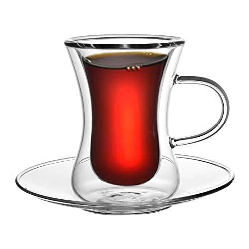 Toah 6X doppelwandige türkische Teegläser Set Thermogläser 80ml Tee/Çay/Chai, Teegläser Teetassen