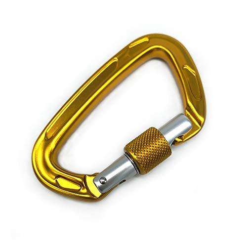 Paquet De 2 Carabiner Screwgate Mousqueton À Verrouillage Clips for Porte-clés 24 KN, Camping, Randonnée Pédestre, Randonnée (Color : Gold, Size : 99x59mm)