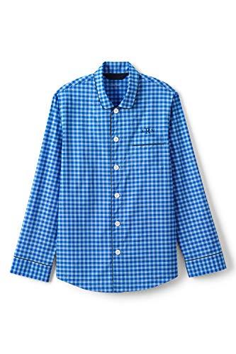 Lands' End Herren Pyjamahemd aus Baumwolltuch, Classic Fit 44-46 Blau - Strahlend Blau Kariert