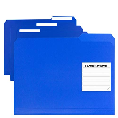 Dunwell Plastic Blue File Folders - (12 Pack of Folders), 3 Tab Folders Plus Removable Labels, Letter Size, Plastic File Folders Colored, 1/3-Cut Tabs, Poly Folders, More Durable Than Manila Folders