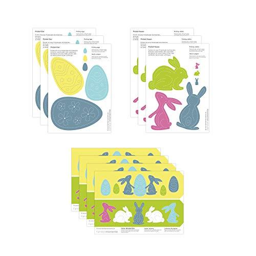Familienmomente 10 Bastelbogen zum Prickeln Ostern (3x Hasen, 3x Ostereier, 4x Oster-Windlichter) DIN A5