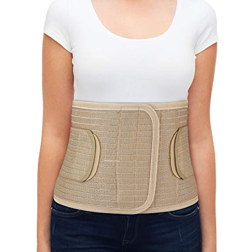 "ORTONYX Breathable 9.5"" Abdominal Binder/Postpartum Postoperative Wrap/Abdomen Hernia Support Belt for Men and Women - L/XL (32""-43"") Beige"