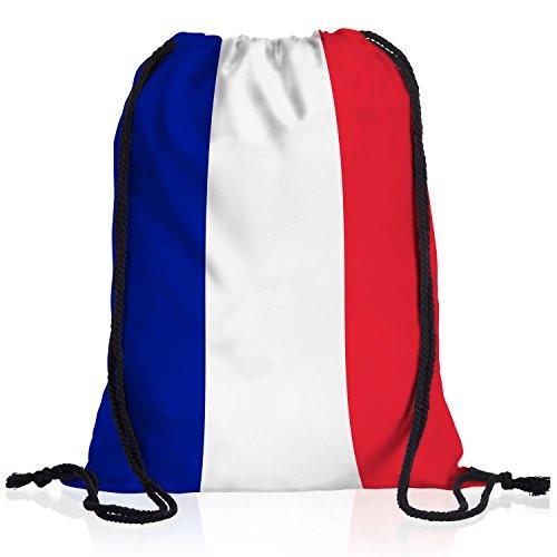 style3 Frankreich Turnbeutel Rucksack Tasche France Flagge WM EM Sport Beutel Festival Fahne Uni Schule Bunt