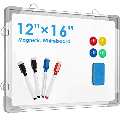Small Dry Erase White Board, ARCOBIS 12' x 16' Magnetic Hanging Double-Sided Whiteboard for Wall, Portable Mini Easel Board for Kids Drawing, Kitchen Grocery List, Cubicle Planning Memo Board