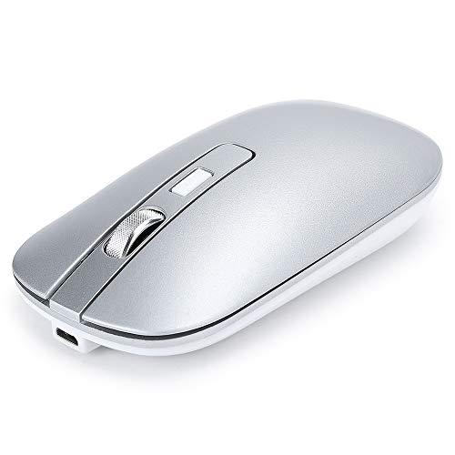 Goshyda Ratón inalámbrico, Bluetooth 5.1 + 2.4G de Modo Dual, 10 Metros / 32.8 pies, 800/1200/1600 dpi 500 mAh Recargable, con Rodillo de Masaje de Metal, Ratón USB para Oficina/Juegos(Plata)
