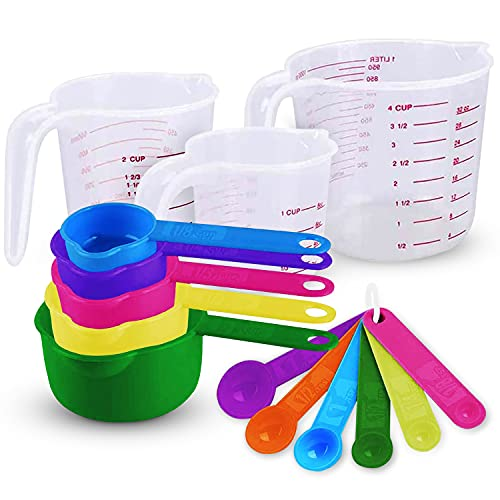 Plastic Measuring Cups and Spoons Set 14 Piece. Includes 11 Colorful Measuring Cups and Spoons Set and 3 Plastic Liquid Measuring Cups. Nesting Measuring Set for Space Saving Storage. Dishwasher-Safe