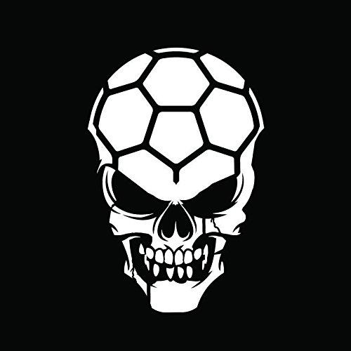 Soccer Skull Vinyl Decal Sticker   Cars Trucks Vans Walls Windows Laptops Cups   White   5.5 X 3.6   KCD1889