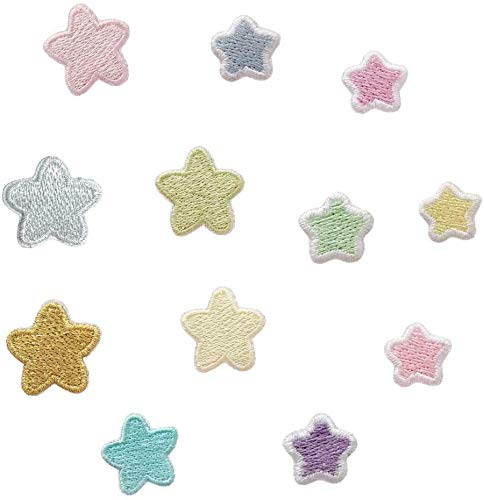 ワッペン 星 ミニサイズ アップリケ カラフル スター 刺繍 ワンポイント 入園準備 プレゼント 手縫い アイロン不要 通園バッグ レッスンバッグ 子ども 女の子12枚セット