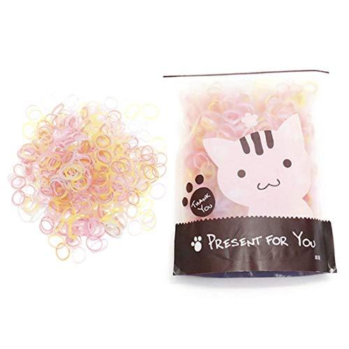 LeTang - Lote de 1000 minipilas elásticas para el pelo de niña, niñas, peinados de boda, rastas pequeñas y más