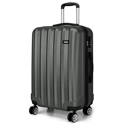 Kono 24 Inch Hard Shell Luggage Lightweight ABS with 4 Spinner Wheels Business Trip Trolley Case Suitcase (Grey)