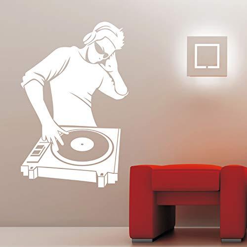 Wopiaol Moderne muursticker, vinyl, sticker, elektronische muziek, koptelefoon, DJ, cool, sticker, jongens, slaapkamer, sticker, thuis, decoratie