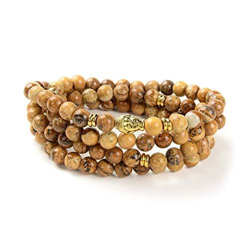 108 Japa Mala Beads Bracelet Buddha Charm Bracelet Necklace for Men Women Protection (Picture Jasper)