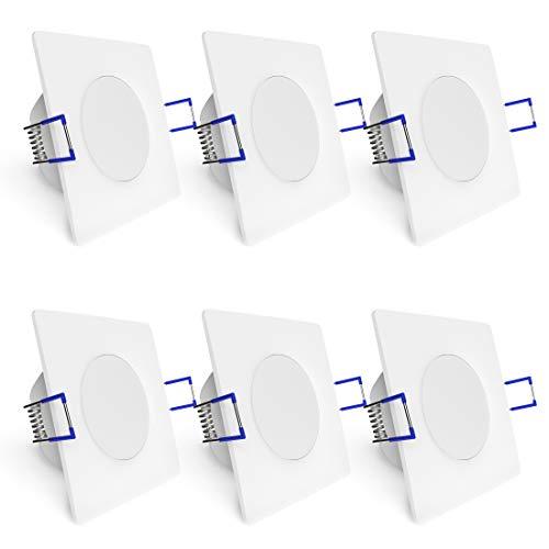 linovum WEEVO 6er Set Einbaustrahler LED Bad quadratisch - 3,5W warmweiß 230V - IP44 Deckenleuchte extra flacher Einbau 29 mm