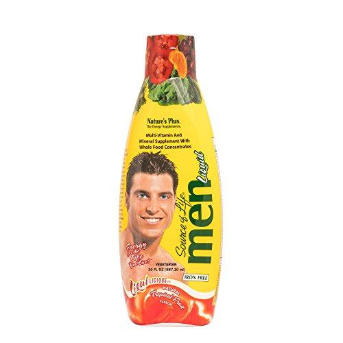 NaturesPlus Source of Life Liquilicious Mens Liquid Multivitamin - 30 fl oz - Tropical Fruit Flavor - Whole Foods & Antioxidants - Healthy Muscles, Energy - Vegetarian, Gluten-Free - 30 Servings