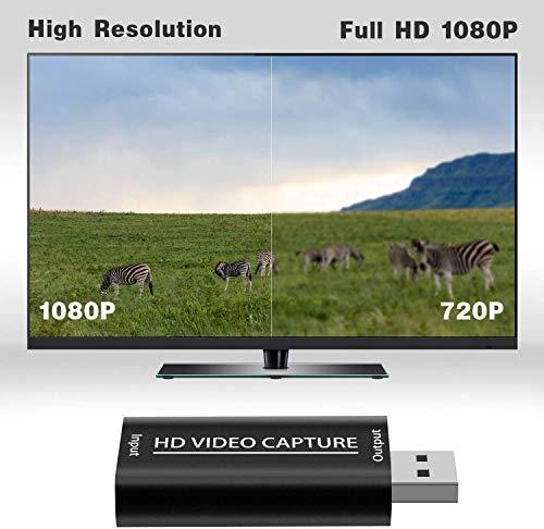 DIGITNOW! Videoaufnahmekarte, HD Video und Audio Capture Card HDMI zu USB 2.0 1080P Aufnahme über DSLR, Camcorder, Action Cam, unterstützt Broadcast Live Streaming