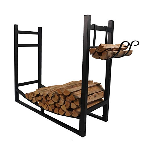 Fire Beauty Fireplace Log Rack with Kindling Holder Firewood Holder for Wood Storage Storage Log...