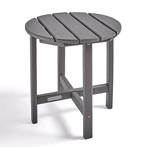 VonHaus Adirondack Garden Side Table – Made from Durable All Weather Eco-Friendly Recycled Plastic – Traditional Wood Effect – Outdoor Garden Furniture for Patio, Decking, Lawn – Grey