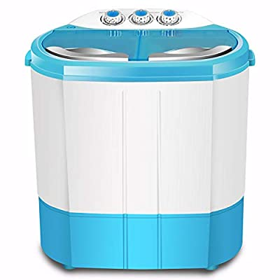 GConline Portable Twin Tub Washing Machine Washer And Spin Dryer Combo Compact For Camping Dorms Apartments College Rooms 4.5 KG Total Capacity 2.5 KG Washer 2 KG Drying Blue
