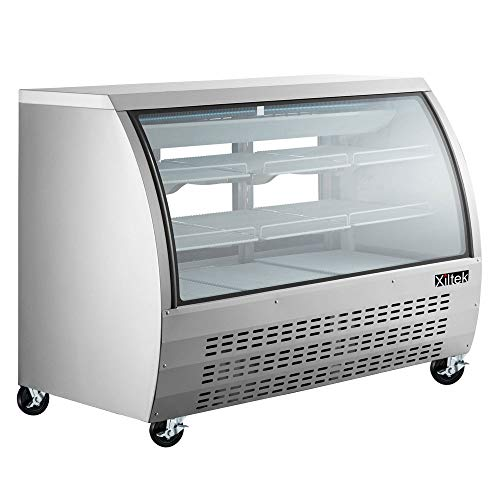 New 65' Xiltek Commercial All Stainless Steel Curved Glass Refrigerated Deli Case Display Case With LED Lighting And Casters