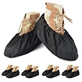 PlasMaller 5 Pairs Black Non Slip Washable Reusable Shoe Covers For Household Thickened Boot Covers, XL