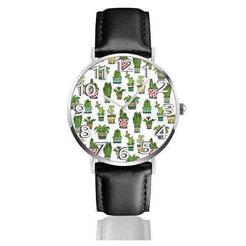 Reloj de Pulsera Patrón de Cactus y suculentas Correa de Cuero sintético Duradero Relojes de Negocios de Cuarzo Reloj de Pulsera Informal Unisex