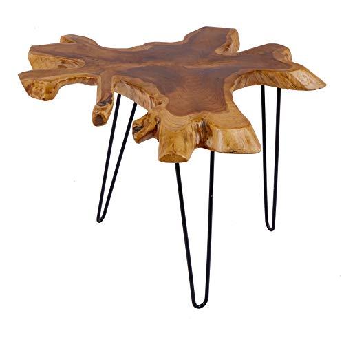 riess-ambiente.de Massiver Teak Beistelltisch WILD 60cm Baumscheibe Couchtisch mit Jahresringen Holztisch Massivholz