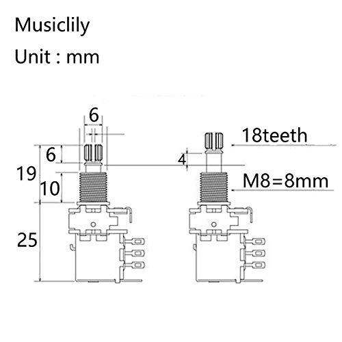 Musiclily Pro Latón Full Tamaño Métrico Split Shaft Control Pots A500K Push/Pull Audio Taper Potenciómetros para Guitarra (Set de 2)