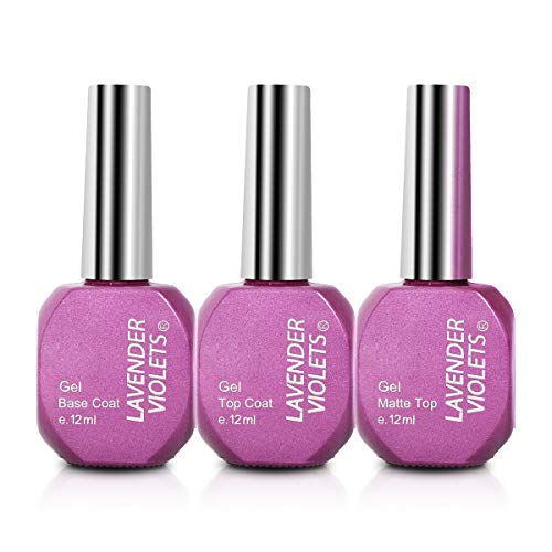 Lavender Violets No Wipe Gel-Nail-Polish-Base-Top-Coat Shiny and Matte Top Gel Long Lasting 12ml F807