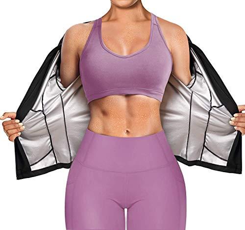 Gotoly Tuta da Sauna di Perdita di Peso Sauna Fitness Manica Lunga T-Shirt Donna Termici Dimagrante Hot Thermo Sauna Sudore Shaper Fitness Giacca Sportiva (Nero, 3XL)