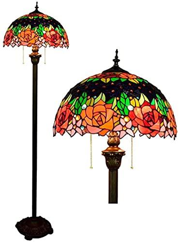 Wzglod Lámpara de pie Tiffany 16' Vidrieras De Vidrio Vintage Rose Flower Floor Light para Dormitorio Sala De Estar Luces Lámpara pie vidrieras 40 * 162Cm