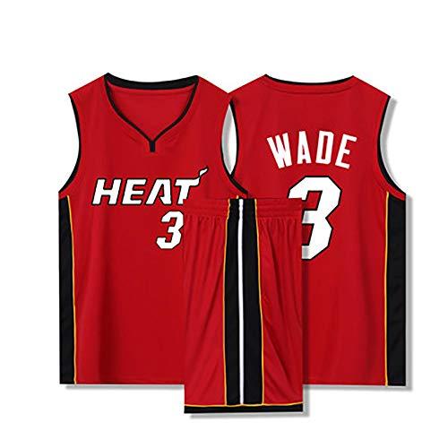 Yute Traje de uniforme de baloncesto para hombre, Heat No. 3 Wade, chaleco deportivo sin mangas transpirable y pantalones cortos combinados 5XL rojo