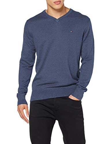 Tommy Hilfiger Pima Cotton Cashmere V Neck Sweater, Faded Indigo Heather, M Homme