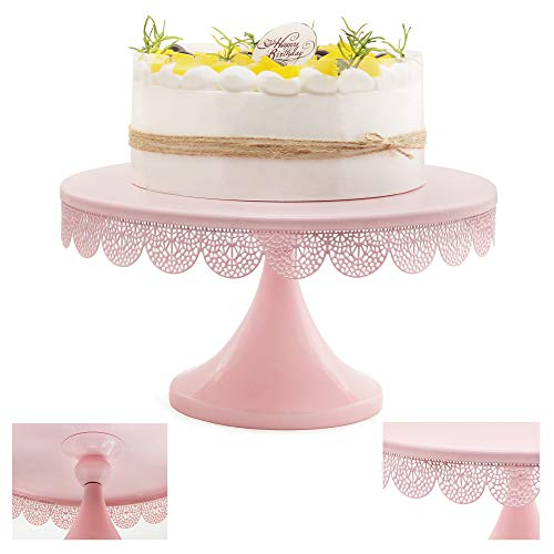 LUCYCAZ Round Cake Stand, No Need to Install, 12-inch Pastry Dessert Holder for Birthday Wedding Events, Light Pink