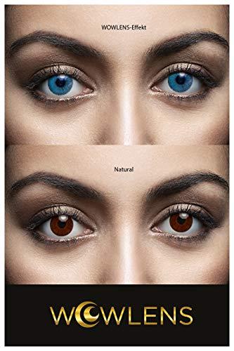 WOWLENS Sehr stark deckende und natürliche blaue Kontaktlinsen farbig DUBAI SAPPHIRE + Behälter I 1 Paar (2 Stück) I DIA 14.00 I 0.00 Dioptrien I ohne Stärke