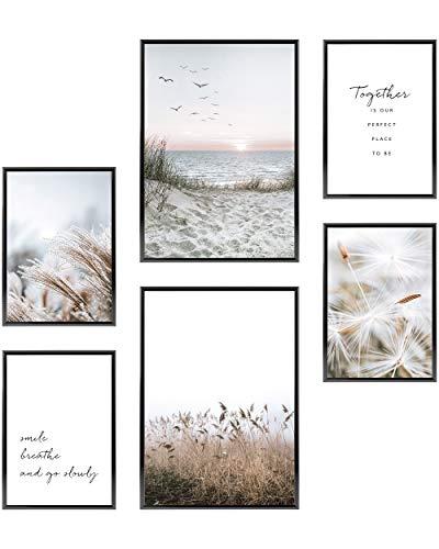 Heimlich® Premium Poster Set OHNE Bilderrahmen | Stilvolles Set mit passenden Bilder als Wohnzimmer Deko | 2 x DIN A3 & 4 x DIN A4 - ca. 30x42 & 21x30 | » Beige Strand Gras «
