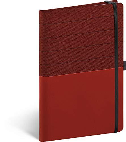 Skiver Notizbuch A5 Liniert, Notizheft mit Gummiband, Notizblock Notebook (Rotburgunder)