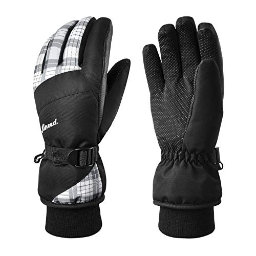 KINEED Waterproof Ski Gloves Touchscreen 3M Thinsulate Winter Warm Snow Gloves for Women Youth White Small